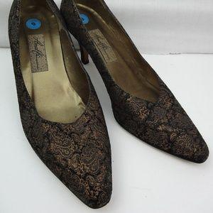 Amalfi Black & Bronze Paisley Printed Suede Heels